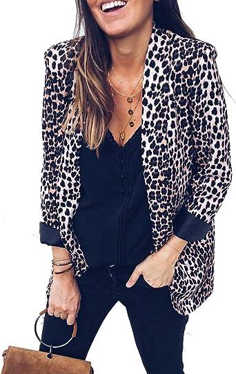 US Womens Leopard Formal Blazer OL Long Sleeve Slim Lapel Jackets Coats Outwear