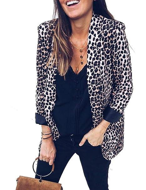 Chaqueta De Leopardo De Mujer Abrigo Abierto Frente Delgado ...