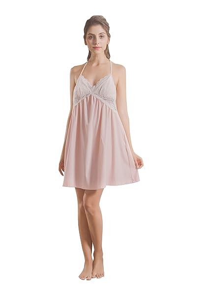 17cc82d2816 Soudoog Ladies Women Sexy Satin Cotton Lace Nightdress Lingerie Nightwear  Short Strap Dress V Neck Sleepwear Underwear Chemise Slip Night Dress  ...