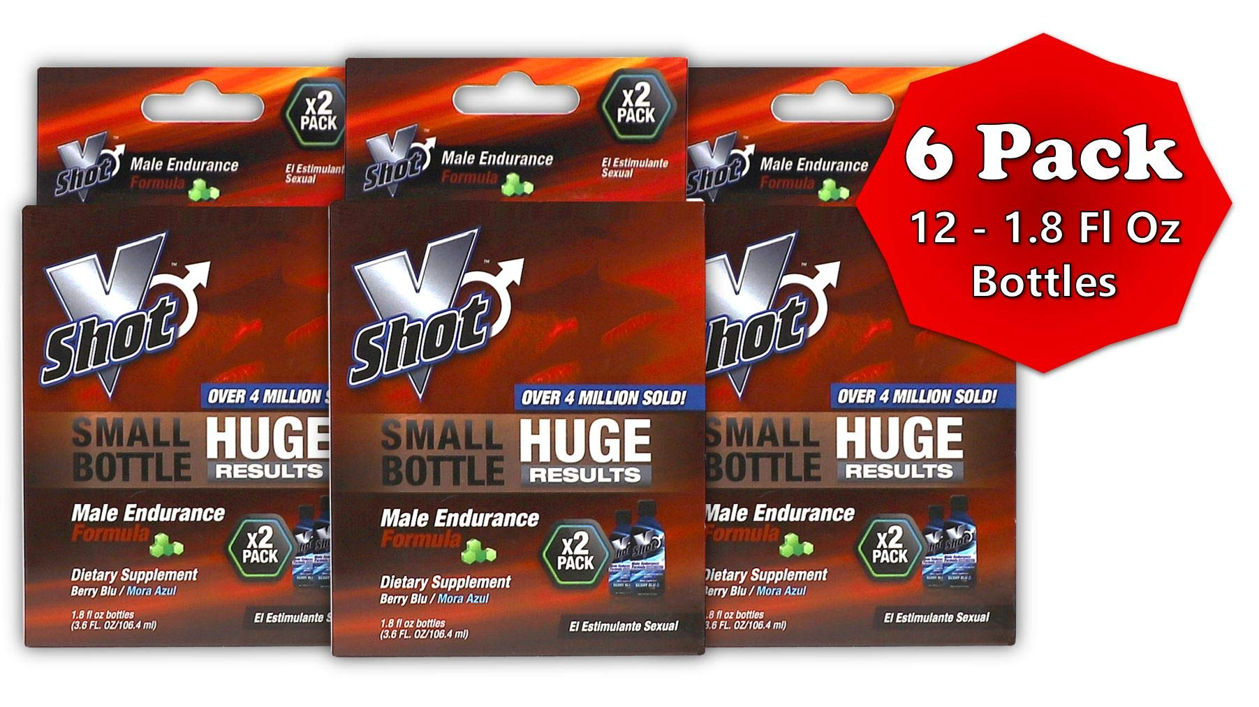 V Shot Male Endurance Formula | Increased Sexual Stamina Boosters for Fast Acting Rise in Vitality, Blood Flow, Vibrant Arousals, Longer Durations, and Sexually Enhanced Desires; (12) 1.8 Fo Bottles by VSHOT