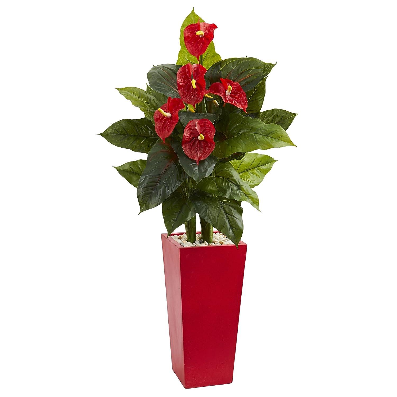 ほぼ自然Anthurium人工植物赤でタワー花瓶、53