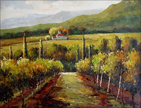 Amazon.com: 100% Hand Painted Vineyard in Tuscany Italy Canvas Oil ...