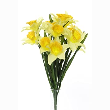 Amazon floristrywarehouse artificial daffodil bush yellow 14 floristrywarehouse artificial daffodil bush yellow 14 stems 1775 inches spring flower mightylinksfo Images