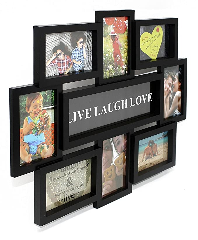 Close Up Portaretratos Multiple Live-Laugh-Love [Negro] (56cm x 44cm): Amazon.es: Hogar