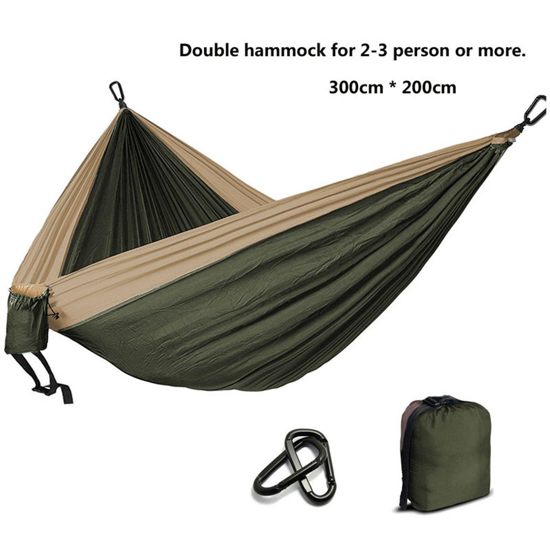 Amazon com hangton camping parachute hammock survival garden outdoor furniture leisure sleeping a travel double hammock 300200cmarmy green and khaki