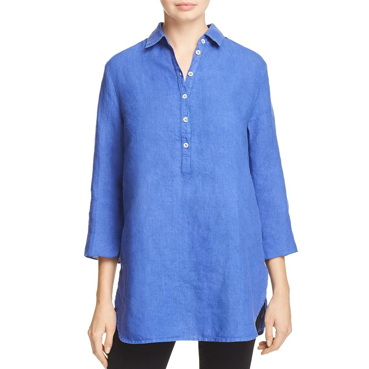Three Dots Womens Linen Popover Tunic Top Blue M
