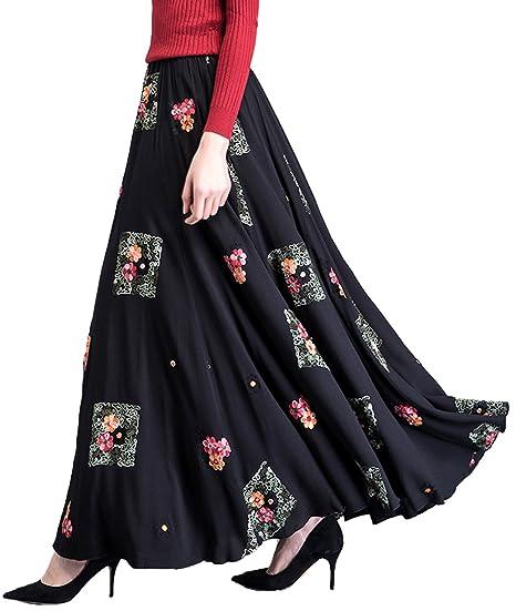22c41eb0ba Femirah Women's High Waisted Ethnic Embroidered Long Maxi A Line Skirt Big  Hem Skirt (Waist