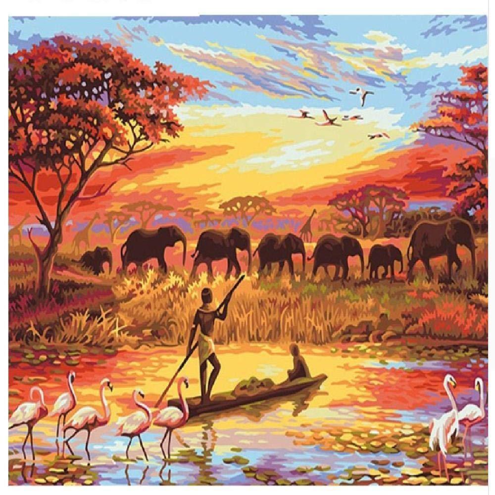 80x100cm  jjyyh Peintures par Numéros Elephant Sunset 120X160Cm Bricolage Peinture à l'huile Linen Toile pour Adultes Les Enfants Débutants des Gamins' Jouet Numéros Peinture par Décoration Murale