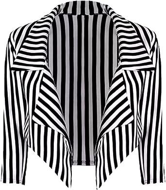 34-48 LOL-Manteau Dames Femmes Noir ray/é Blanc recadr/ée Cascade Veste Blazer Taille