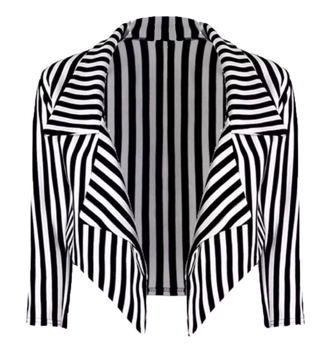 Rimi Hanger Womens Black & White Striped Waterfall Cropped Blazer Jacket S/XXL