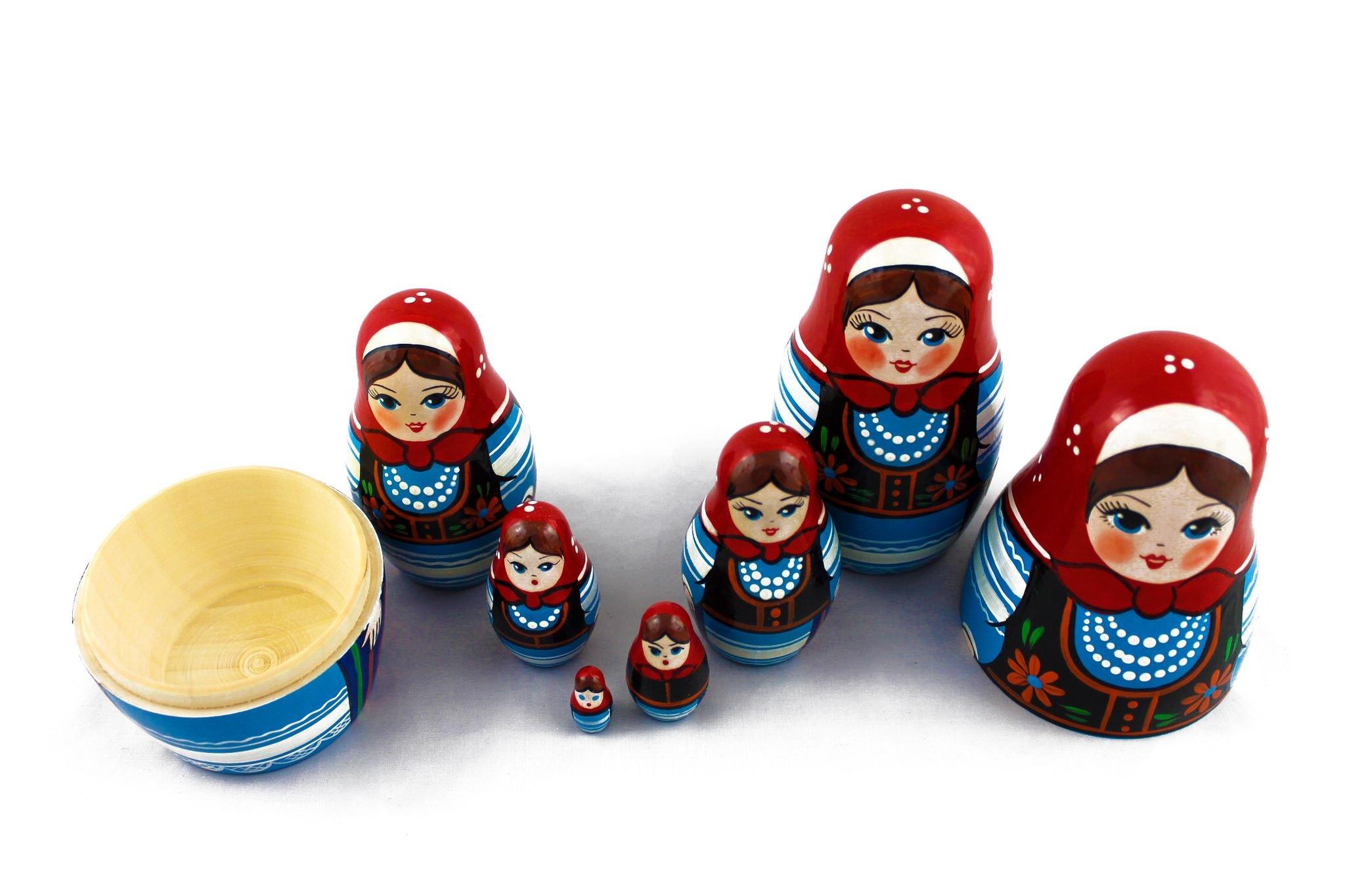Matryoshka Polish National Dress Babushka Russian Nesting Wooden Stacking Doll 7 Pcs by MATRYOSHKA&HANDICRAFT (Image #7)