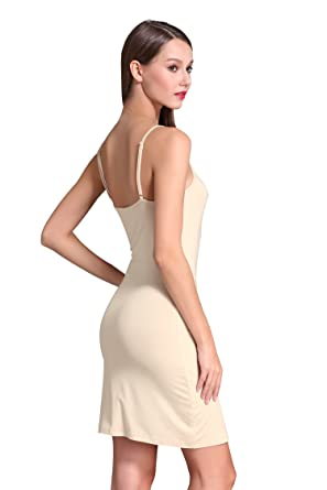 5643d8b8f49 Coreal Women s Adjustable Spaghetti Strap Camisole Full Slip for Underdress  Nightdress Beige X-Small