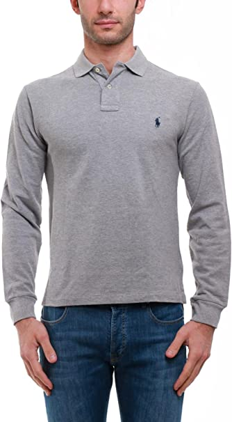 C0968 polo uomo RALPH LAUREN SLIM FIT grigio polo t-shirt long ...