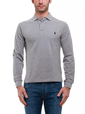 C0968 polo uomo RALPH LAUREN SLIM FIT grigio polo t-shirt long ...