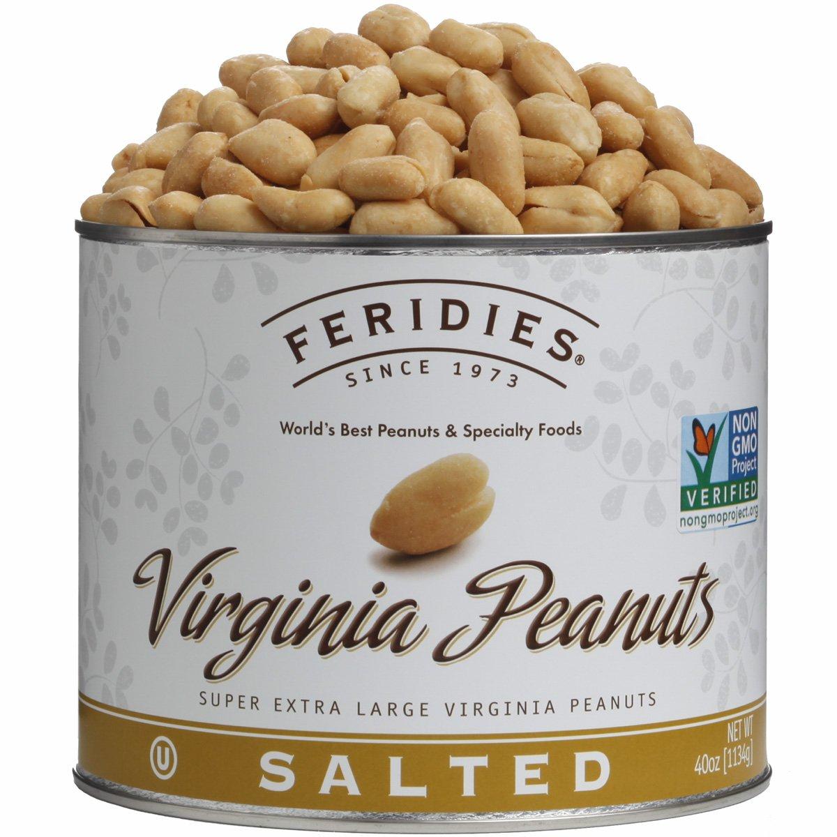 FERIDIES Salted Super Extra Large Virginia Peanuts - 40oz Tin, NonGMO, OU Kosher, Cholesterol Free by FERIDIES