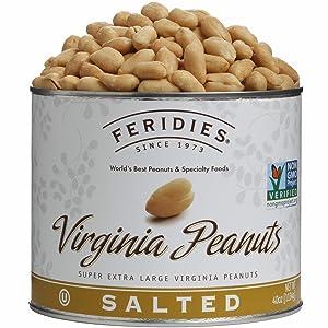 FERIDIES Salted Super Extra Large Virginia Peanuts - 40oz Vacuum Sealed Tin