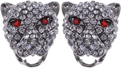 Alilang Red Colored Rare Demonic Devilish Jaguar Crystal Rhinestone Element Earrings