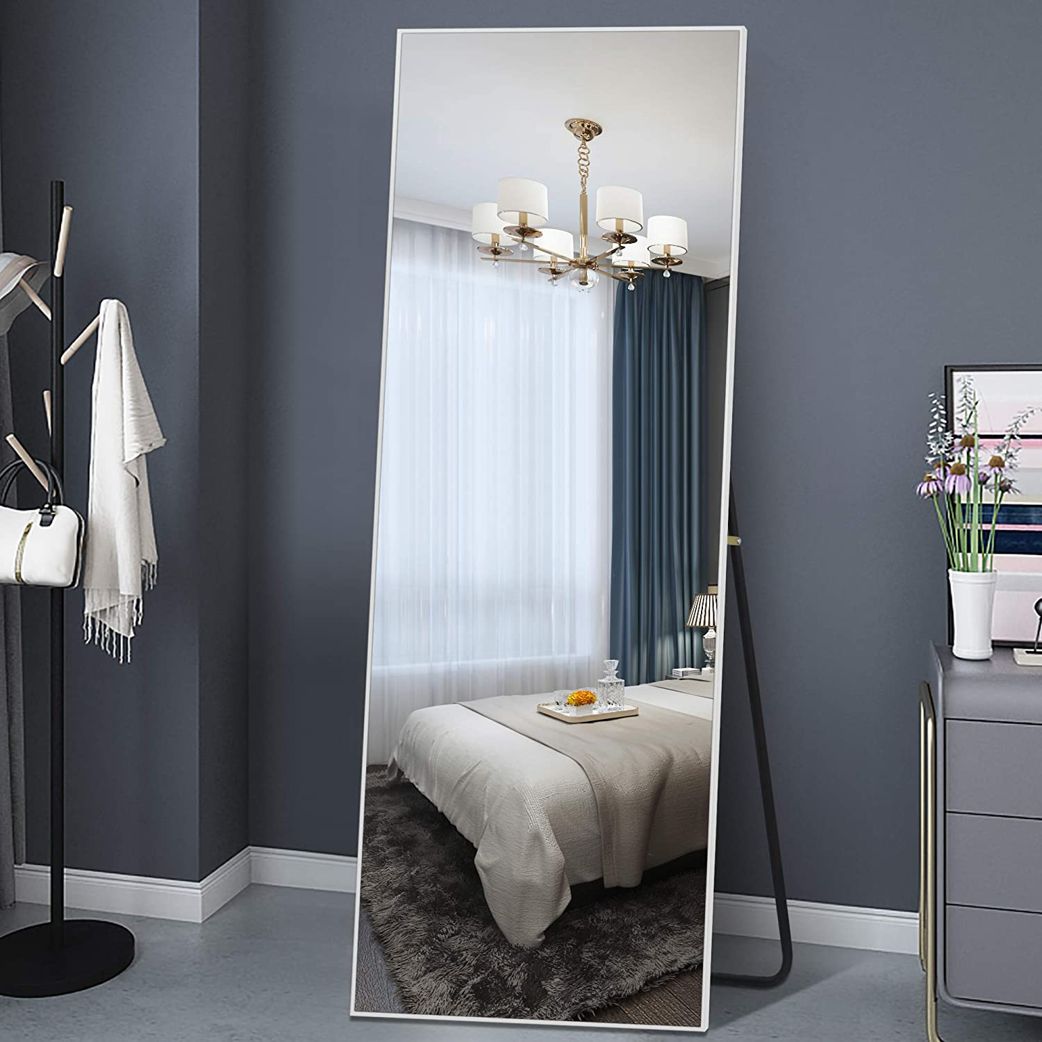 Dressing Mirror 65x22 Aluminum Alloy Floor Mirror Thin Frame with Bracket BEHOME Full Length Mirror Standing Mirror Full Body Mirror Decor Mirror-Black