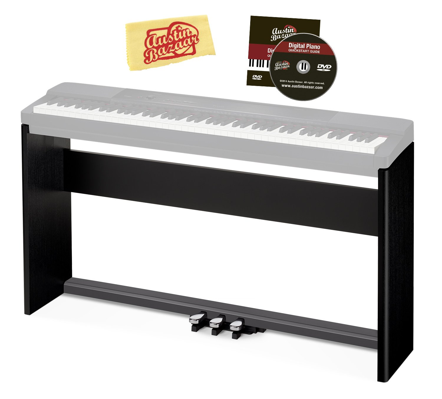 Casio CS-67 Keyboard Stand for PX-150/PX-160/PX-350/PX-360/PX-560 Bundle with Casio SP-33 Pedal System, Austin Bazaar Instructional DVD, and Polishing Cloth - Black by Casio (Image #1)
