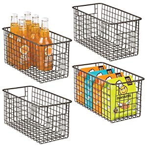 "mDesign Farmhouse Decor Metal Wire Food Storage Organizer, Bin Basket with Handles for Kitchen Cabinets, Pantry, Bathroom, Laundry Room, Closets, Garage - 12"" x 6"" x 6"" - 4 Pack - Bronze"