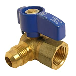 LASCO 10-1617 Angle Gas Ball Valve with 1/2-Inch Flare and 1/2-Inch Female Pipe Inlet, Brass . Colors May Vary