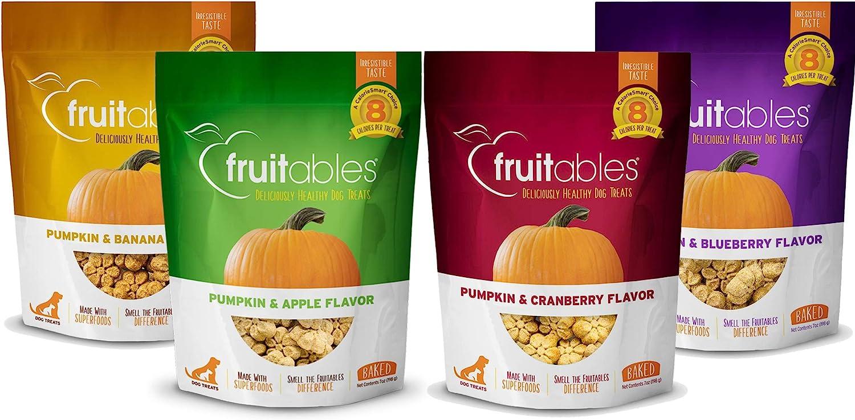 Fruitables All Natural 7 Ounce Pumpkin Baked Crunchy Dog Treats, Variety Pack of 4