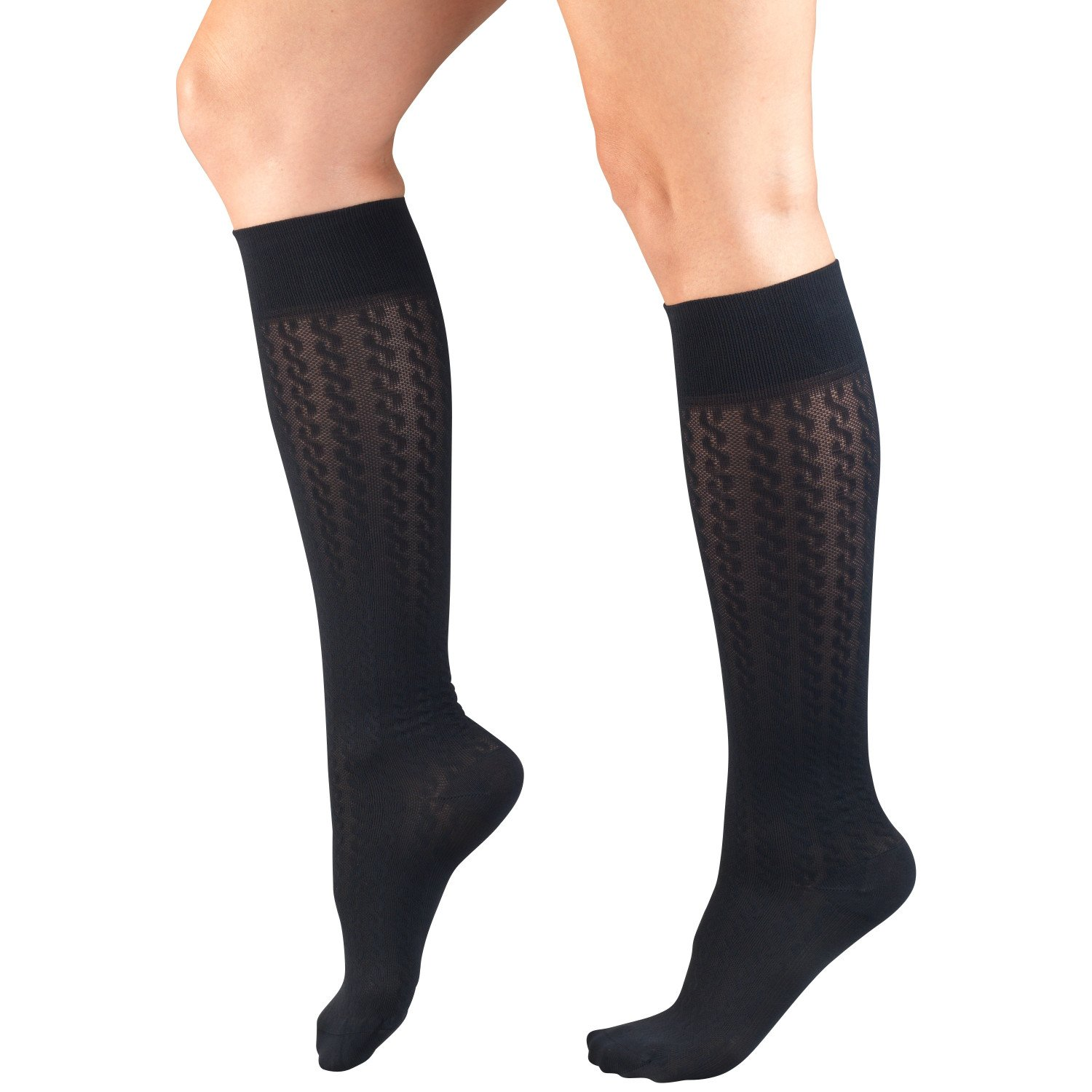 Amazon.com: Truform Compression Socks for Women, 15-20 mmHg, Navy Cable Pattern, X-Large: Health & Personal Care