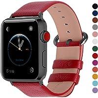 Fullmosa YAN Correa Cuero Compatible Apple Watch/iwatch Series 3, Series 2, Series 1, Apple Watch Correa/Pulsera/Banda 38mm 42mm, Rojo + Hebilla de Ahumado, 42mm