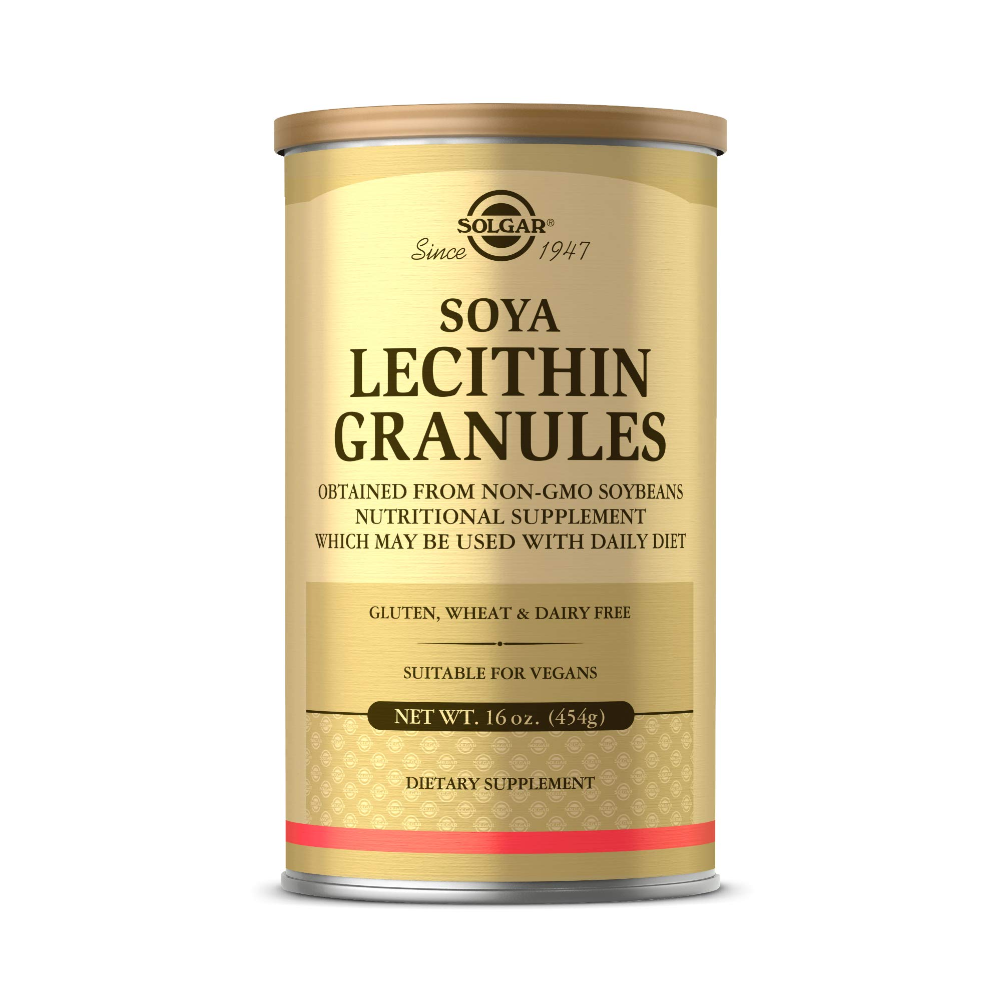 Solgar Lecithin Granules, 16 oz. - Supports Overall Health - Natural Soya Lecithin - Source of Choline & Essential Fatty Acids - Vegan, Gluten Free, Dairy Free - 60 Servings