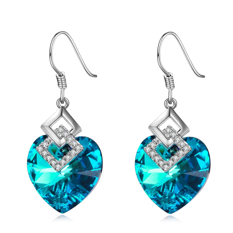Sterling Silver Love Heart Dangle Drop Earrings with Swarovski Crystals Fine Jewelry Gift for Women Girls