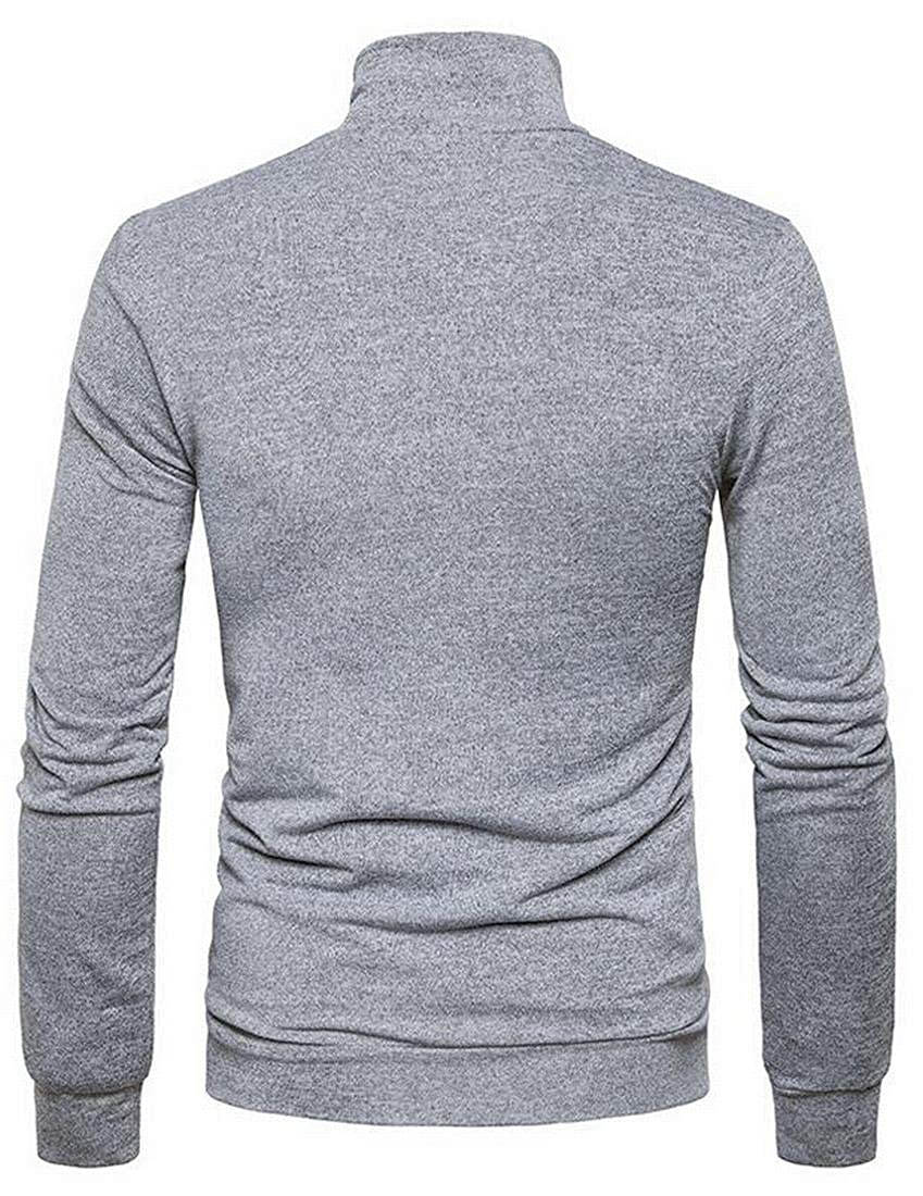 Teapolity Men Button Up Knit Fall Winter Stand Collar Casual Regular Fit Pullover Sweater Jumper