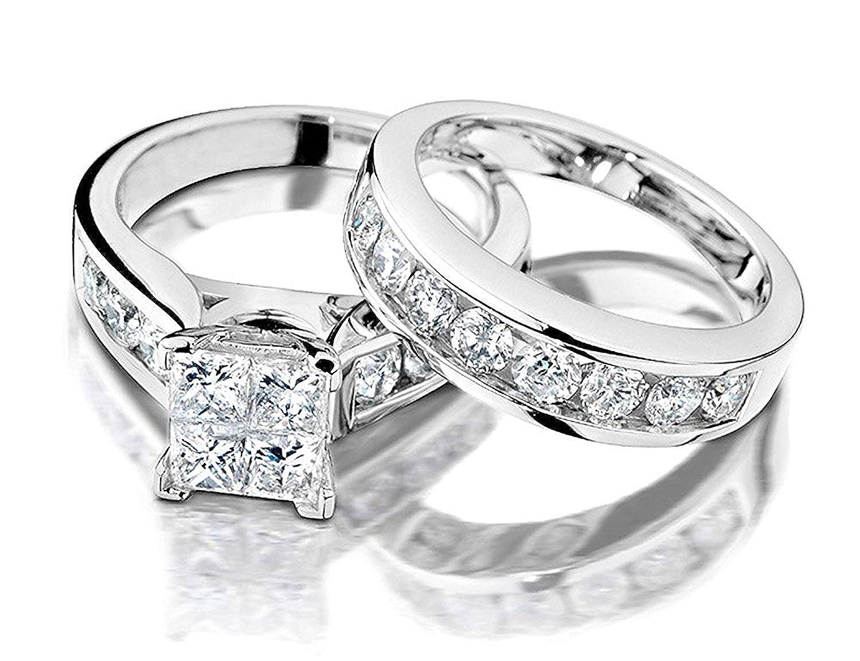 12 Carat Ctw Princess Cut Diamond Engagement Rings For Women And Wedding Band Set In 10k White Gold Amazon: Best Looking 2 Carat Wedding Rings At Websimilar.org