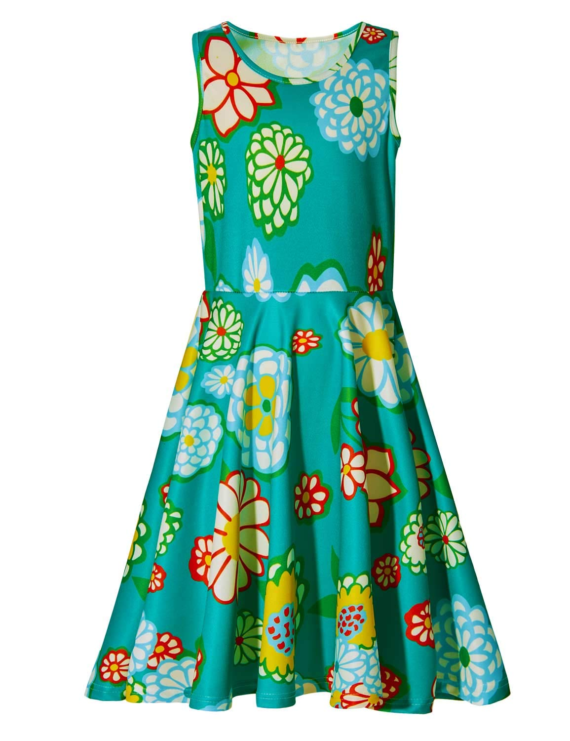 Ahegao 8 Years Old Kid's Holiday Party Short Sleeve Skirts Cute Print Cartoon Flower Graphics Primary School Students Green Casual Dress