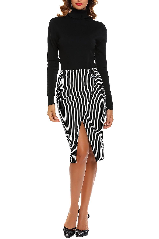 2dcf9059f8 keliqq Women High Waist Striped Pencil Skirt Stretchy Knee Length Split  Wrap Midi Skirt S-XXL at Amazon Women's Clothing store: