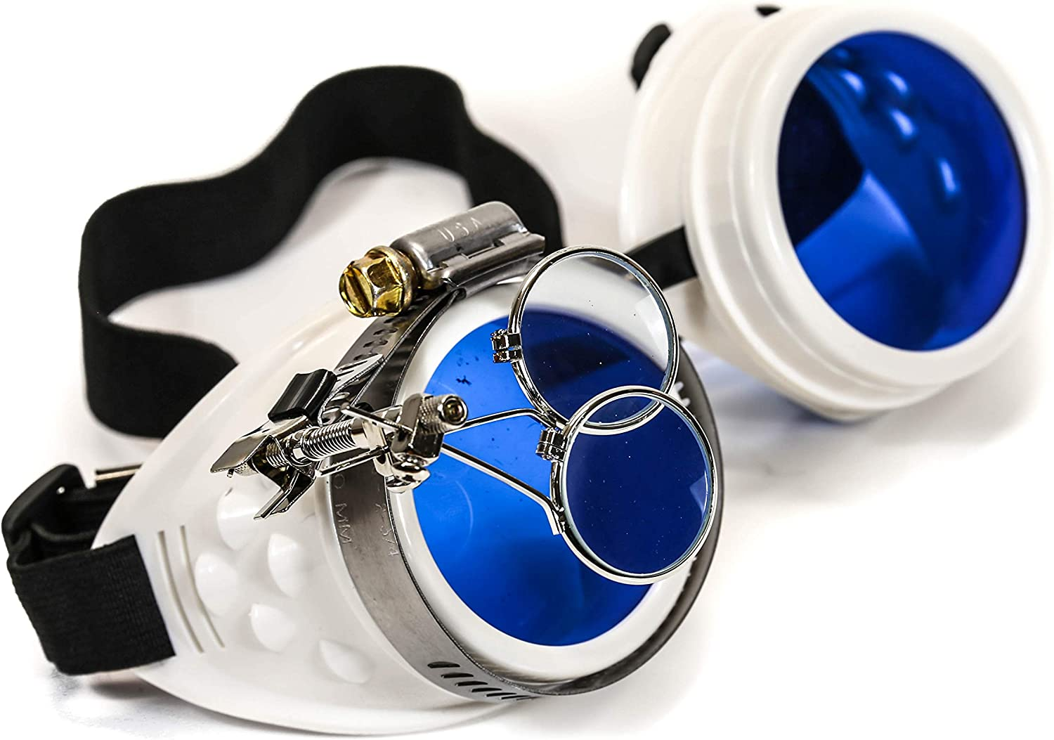 Valvetcrow White Steampunk Victorian Style Goggles Colored Lenses /& Ocular Loupe Mad Scientist