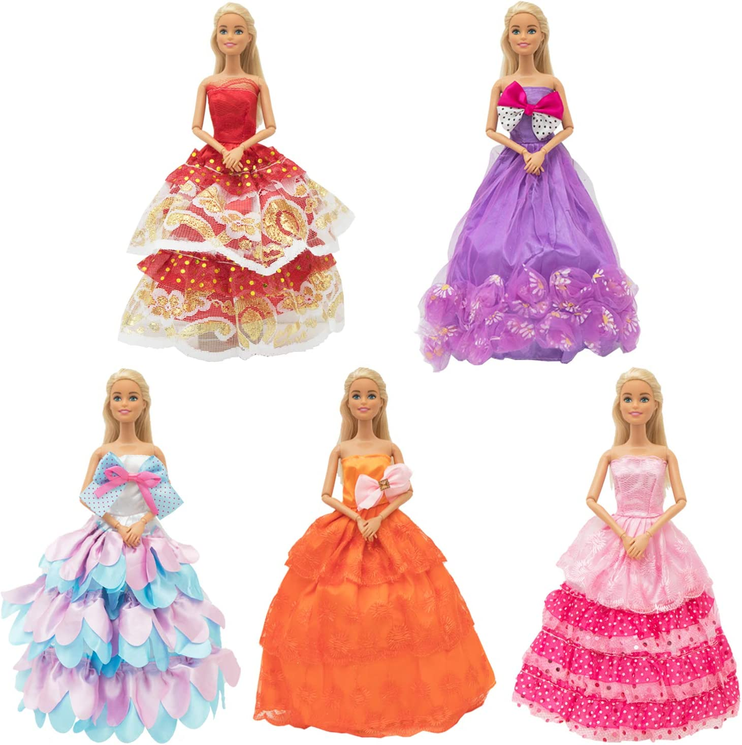11.5 Inch Barbie Girl Doll Wedding Party Dresses Pack Of 10 Cute Handmade Gowns