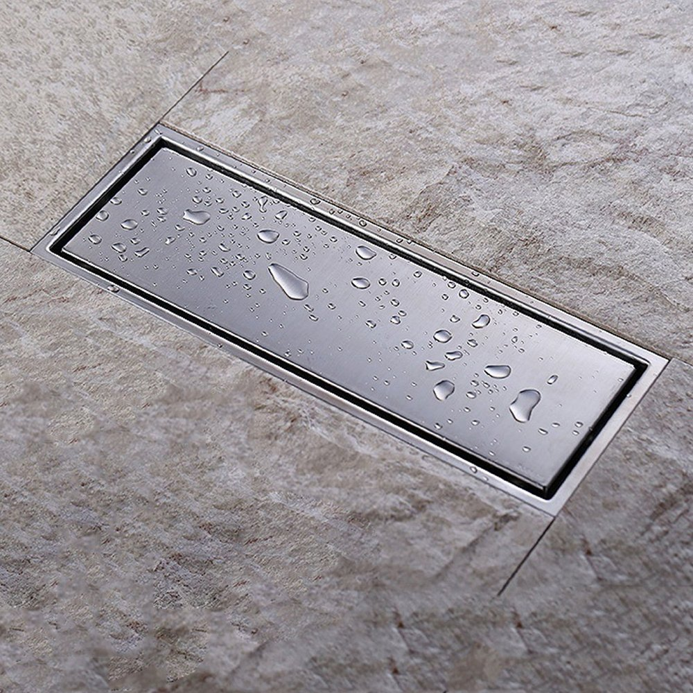 KES SUS 304 Stainless Steel Shower Floor Drain with Removable Cover 11.8-Inch Long, Brushed Finish, V220S30
