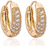 YAZILIND Elegant 14K Gold Filled Inlay Round Clear Cubic Zirconia Small Hoop Earrings for Women Gift Idea