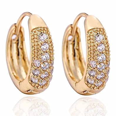 Yazilind Charming Smooth 18K Gold Plated Simple Style Inlay Round Cubic Zirconia Small Hoop Earrings for Women knNQjro7