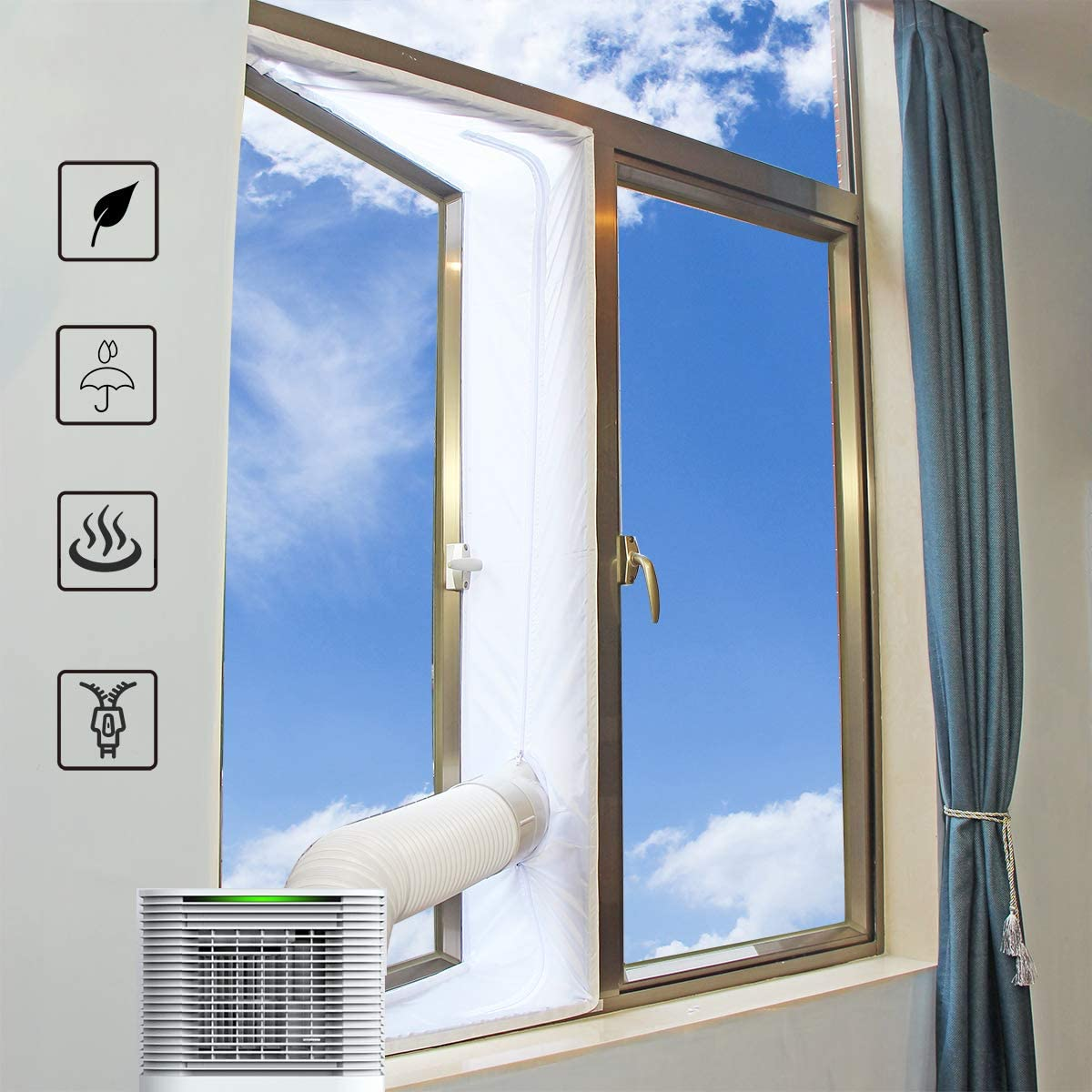 for Mobile Air Conditioner and Tumble Dryer, 400CM Window Seal Works with Portable Air Conditioning Unit No Need for Drilling Holes Universal Window Seal Hot Air Stop,Easy to Install