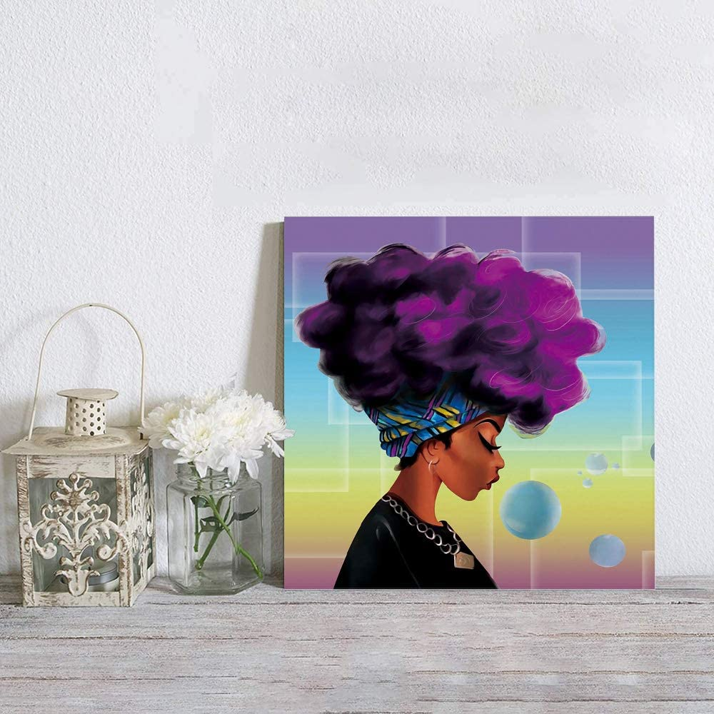 BABE MAPS Canvas Wall Art Framed Wall Decoration 8x8 inch Wall Decor Poster Prints Retro Picture Artwork Ready to Hang for Kitchen Bedroom Decor Traditional African Black Women with Purple Hair