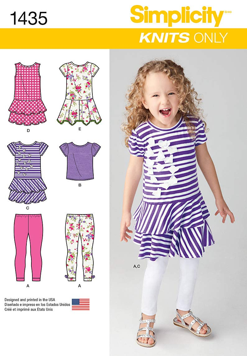 Simplicity 1435 Girls Knit Dresses, Top and Capri Leggings - Knits Only Size: A (3-4-5-6-7-8) Simplicity Creative Patterns