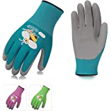 Vgo 3 Pairs Age 7-9 Kids Gardening,Lawing,Working Gloves,Foam Rubber Coated(Size XS,3 Colors,KID-RB6013)