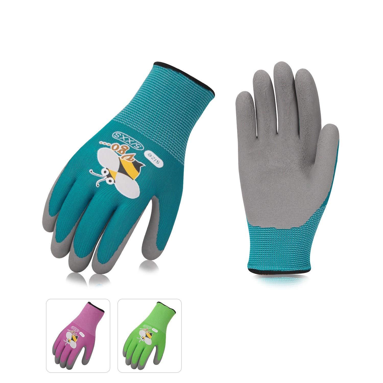 Vgo 3Pairs Age 5-7 Kids Gardening,Lawning,Working Gloves,Foam Rubber Coated(Size XXS,3 Colors,KID-RB6013)