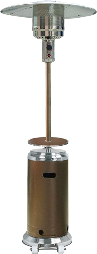Amazon Com Hiland Hlds01 Sshgt 48 000 Btu Propane Patio Heater With Wheels And Table Large Hammered Bronze Ss Portable Outdoor Heating Garden Outdoor