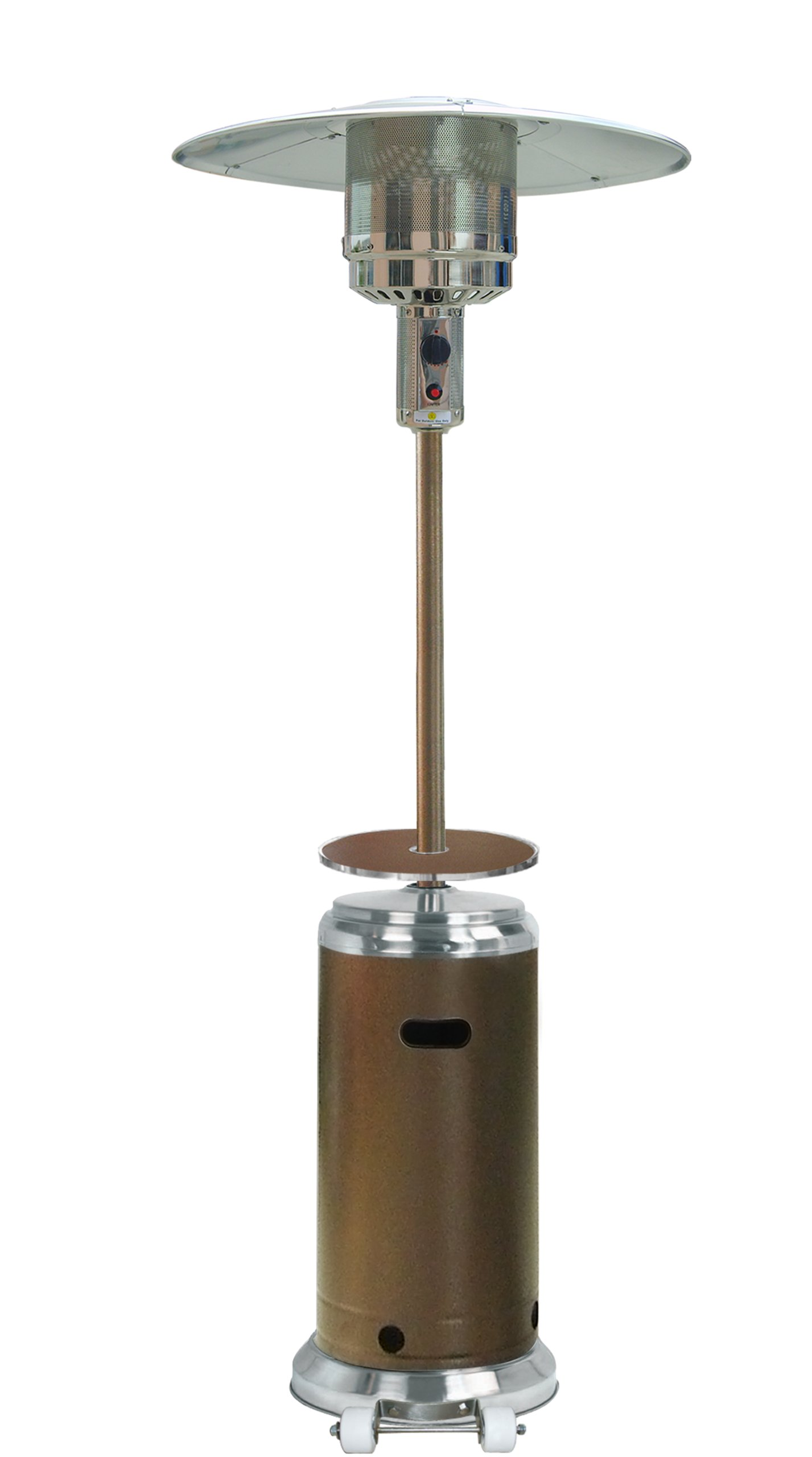 Hiland HLDS01-SSHGT 48,000 BTU Propane Patio Heater w/Wheels and Table, Large, Hammered Bronze/SS by Hiland