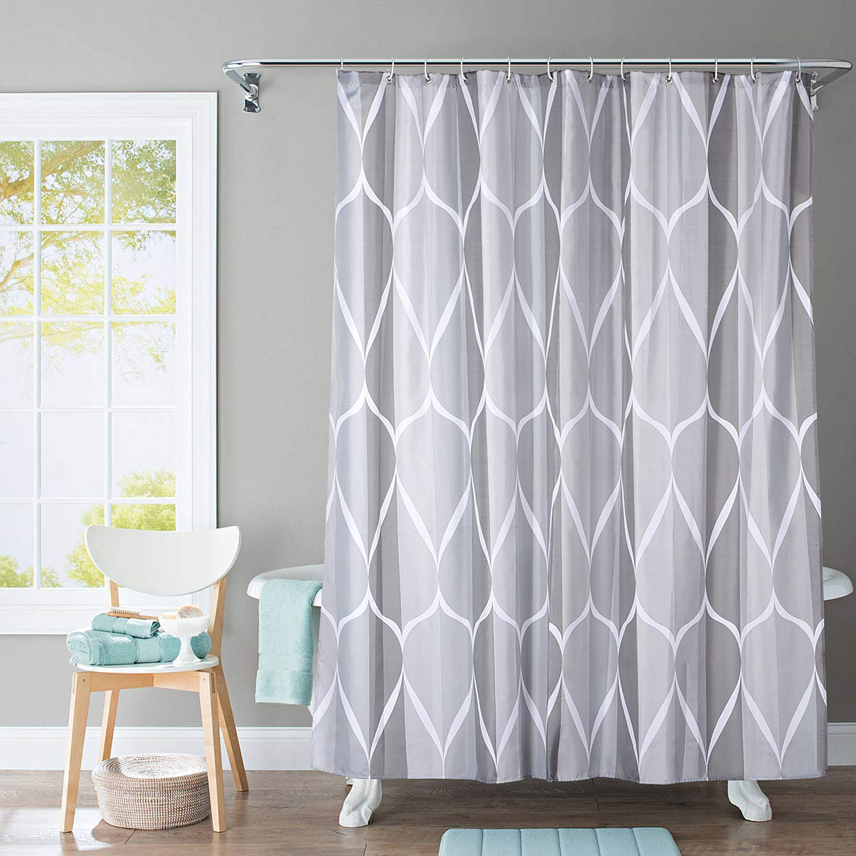 JRing Shower Curtain Polyester Fabric Waterproof Machine Washable with 12 Hooks 72x72 Inch by JRing (Image #1)