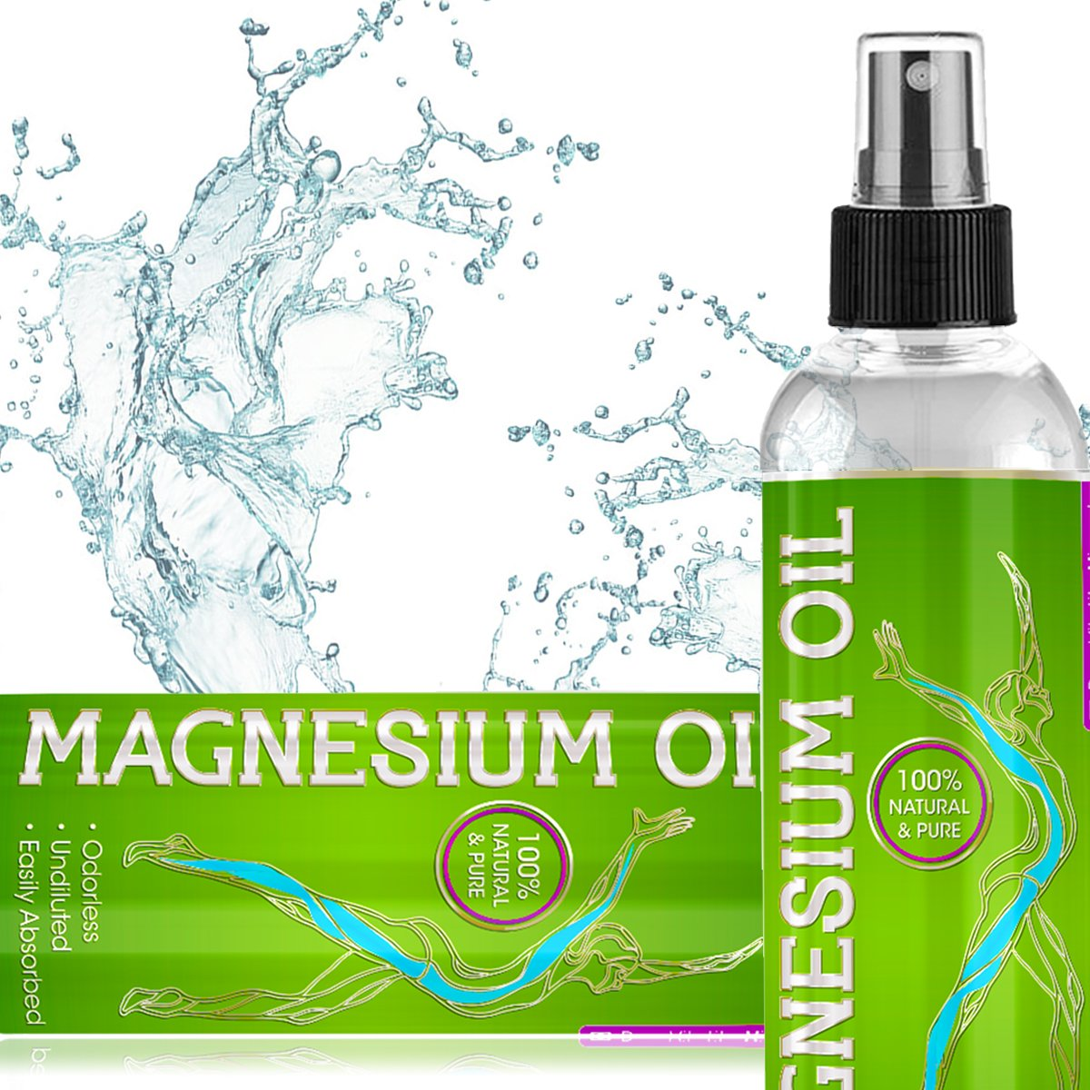 Pure Magnesium Oil Spray - Maximum Magnesium Per Oz - Undiluted USP Grade (NO impurities