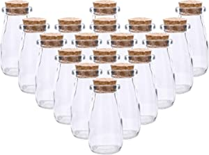 Kingrol 18 Pack Glass Bottles with Cork Stoppers, Vintage Glass Favor Jars for Arts, Crafts, Decoration, Party Favors