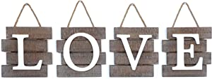 """Barnyard Designs Love Wall Sign, Distressed Rustic Farmhouse Wood Wall Decor for Home and Kitchen 32"""" x 8"""""""